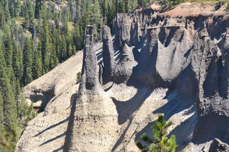 Closeup on the Pinnacles at the Crater Lake National Park, Oregon. After the volcano explosion, very hot ash and pumice came to rest near the volcano, forming  60 to 90m thick gas-charged deposits