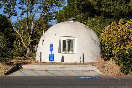 college dorm: Davis, California, USA, 1 October 2016. The Domes at Baggins End. The Domes are an on-campus cooperative housing community. Consisting of 14 polyurethane-insulated fiberglass domes.