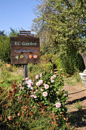 experimental: Davis, California, USA, 1 October 2016. Entrance of the experimental Community Gardens at UC Davis. The mission of theExperimental Community Gardens (ECG) is to provide a place for people to learn gardening skills