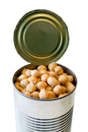 Top of an open garbanzo beans can isolated on white background, without the lid-healthy food concept