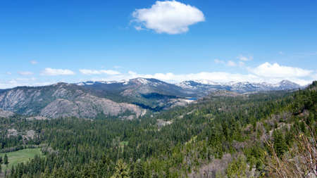 Panoramic view of the Sierra Nevada from highway 80 Westbound past Donner Summit, California, USA, in the winter of 2017 Stock Photo