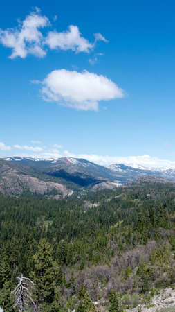 Vertical view of the Sierra Nevada from highway 80 Westbound past Donner Summit, California, USA, in the winter of 2017