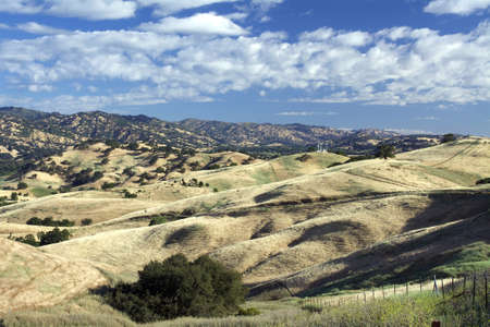 Panoramic view of the Lagoon Valley Park in Vacaville, California, USA, featuring the chaparral in the summer with golden grass
