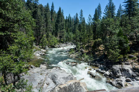 North Fork of the Stanislaus River passing through Calaveras Big Trees State Park, California, USA, on a clear sky day, viewed from a bridge