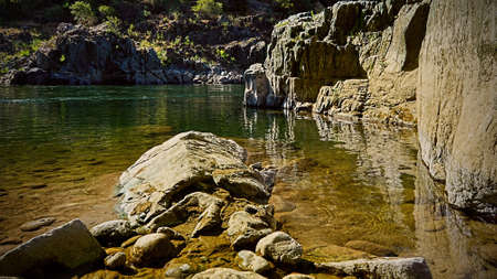 Shore of the American River in California, near Auburn, on a Spring morning