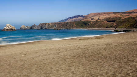 Panoramic view of the Pacific Coast from Goat Rock state park, Sonoma Coast, California, USA, on a sunny Summer day.