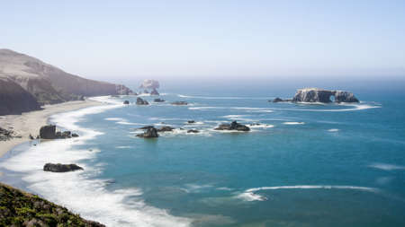 Panoramic view of the Pacific Coast and Arched Rock at Sonoma Coast state Park, California, USA, on a sunny Summer day. Stock Photo