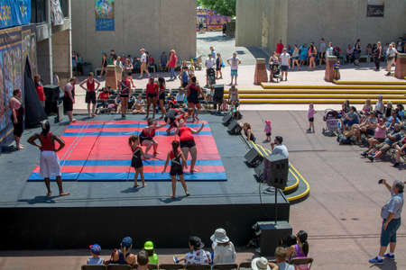 Sacramento, California, U.S.A. 23 July 2017. Gymnastics presentation at the California State Fair at Cal Expo. The fair is annual and features California industry and culture.