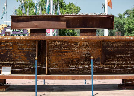 Sacramento, California, U.S.A. 23 July 2017. Steel beam extracted from the World Trade Center on display at the California State Fair at Cal Expo. The fair is annual and features California industry and culture.