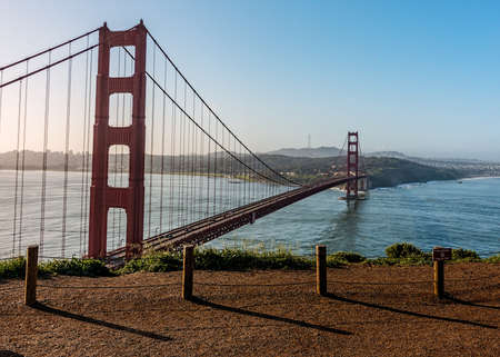 Panoramic view of the Golden Gate Bridge in the morning viewed from Battery Spencer, a Fort Baker site.