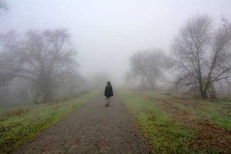 Back of a woman wearing black jacket walking on a trail into the fog in the winter of California Фото со стока