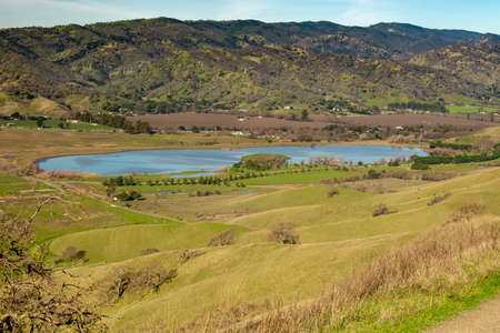 The Lagoon Valley Park in Vacaville, California, USA, viewed from a hill, including the highway I-80