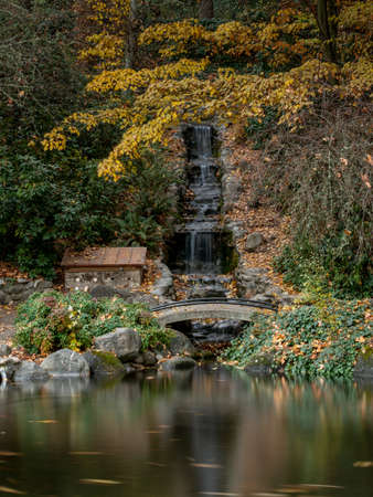 Artificial waterfall Lithia Park in the Autum, Ashland, Oregon, USA, long exposure, featuring yellow and red leaves 免版税图像