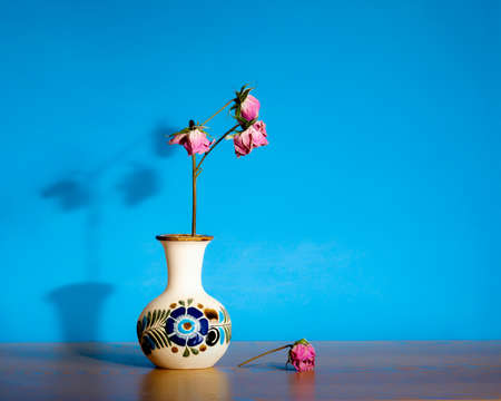 Abstract still life displaying dead, dried, dry roses in ceramic pot against blue large background and copy space- passage of time, loneliness and death concepts
