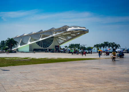 RIO DE JANEIRO, RJ, September 12, 22, 2019: View of Museum of Tomorrow and Guanabara day on a sunny day without clouds