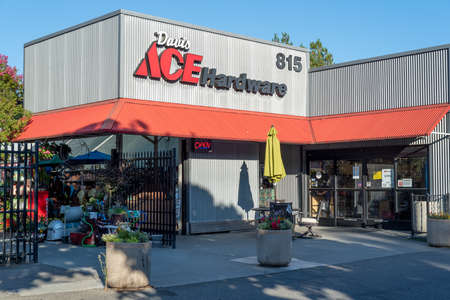 DAvis, California - March 7, 2019. Ace Hardware store front downtown on a cloudless sky day Editöryel