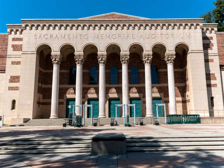 Sacramento, CA, USA -August 11, 2019. Front facade of the Memorial Auditorium, innaugurated in 1927 and dedicated as a memorial and tribute to the city residents who gave their lives in service to the USA