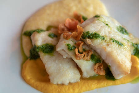 Fresh fish fillets on mashed sweet potato garnished with cooked spinach sauce and dried apples, top view and close-up - Itailian dish