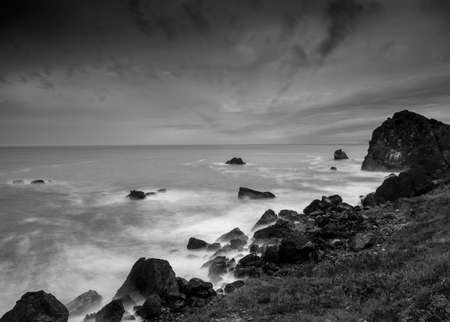 Long exposure of the surf from Rocky point, Patricks Point State Park, Northern California, USA, in black and white, featuring lots of copy-space Stok Fotoğraf