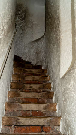 Long and narrow stairs in old tower in Germany Stok Fotoğraf