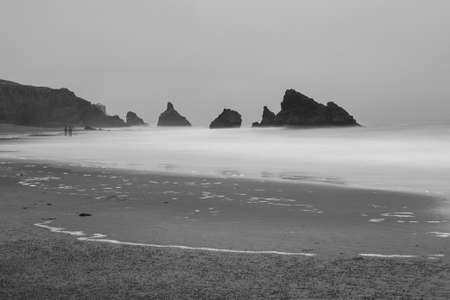 Panoramic view of the Pacific Coast from Goat Rock state park, Sonoma Coast, California, USA, on a foggy, gloomy day, featuring the silhouette of two persons walking