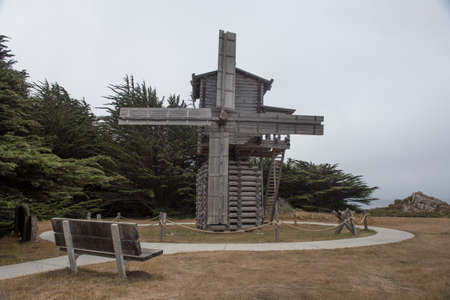 Old Mill in Fort Ross State Park, California, USA, close-up, on a foggy, overcast day typical of the Sonoma Coast.