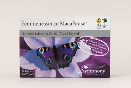 Davis, CA, Aug 16, 2020. Box of Femmenessence MacaPause from Symphony Natural Health on white background, isolated