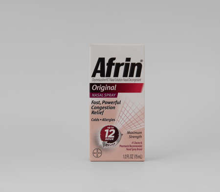 Davis, CA, Aug 16, 2020. Box of Afrin nose drops for nasal congestion relief, nasal spray, 12 hours, isolated on white background