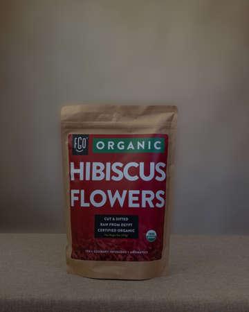Davis, CA, 29 July 2020. FGO organic Hibiscus flowers, FDA certified Redactioneel