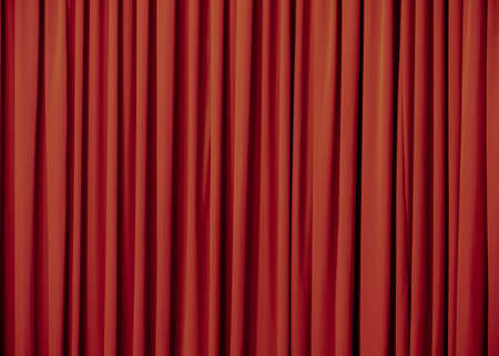 Red curtain background or backdrop copy-space, with folds and creases