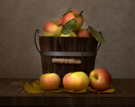 Honey Crisp apples  from Apple Hills, Northern California, inside a wooden bucket on wooden table covered with yellow cottonwood leaves against brown background and viewed from the side, with a texture applied to it Stockfoto - 157071754