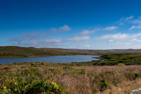 View of Abbotts Lagoon from a distance, Point Reyes National Seashore, Marin County, California, USA,  on a clear day  and cloudless sky