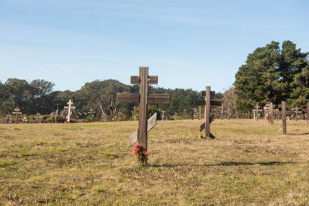 near Salt Point, 19 January 2021. Old cemetery at Fort Ross state park, a Russian Fort, on a sunny day, California, USA