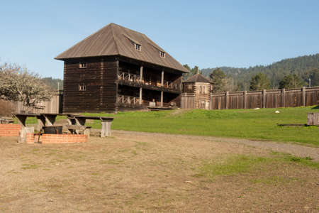 near Salt Point, 19 January 2021. Old Building at Fort Ross state park, a Russian Fort, on a sunny day, California, USA