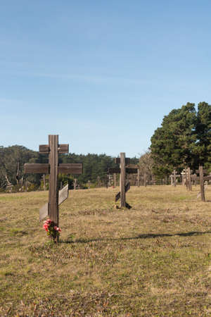 Fort Ross, 19 January 2021. Old cemetery at Fort Ross state park, a Russian Fort, on a sunny day, California, USA