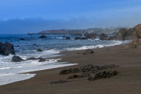 Overview of Portuguese Beach, Sonoma County, California, USA, along scenic Highway 1