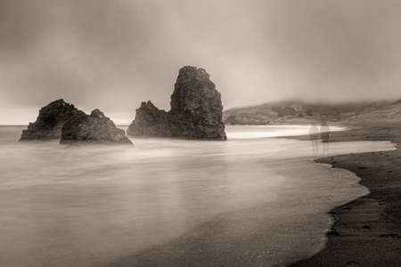 Abstraction of Rodeo Beach, California, USA, including two ghost figures- dreamscape Stockfoto