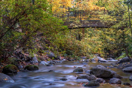 Empty bridge at Lithia Park by the lake in Ashland, Oregon, USA, featuring yellow leaves in the Autumn and creek water in long exposure