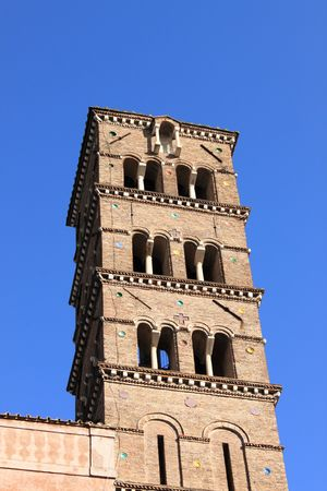 obsolescence: Romanic church tower  Stock Photo