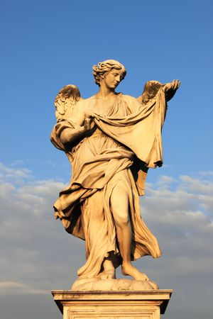 Angel statue in Saint Angel bridge, Rome (Italy). Symbol of Image of Christ photo
