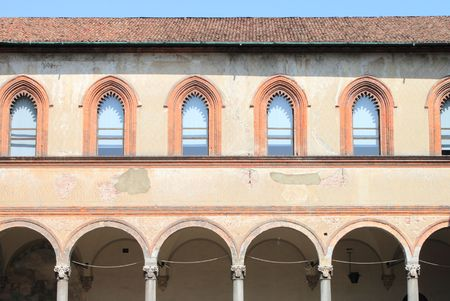 cloister: Medieval cloister Stock Photo