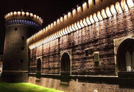 Sforzesco castle by night, Milan (Italy) Stock Photo
