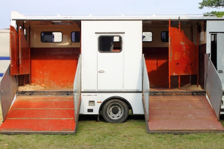 Horse transportation van Stock Photo