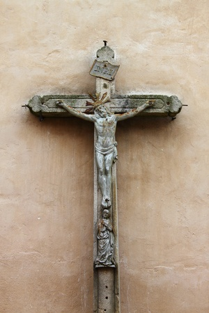 christian faith: Ancient stone crucifix, symbol of christian faith