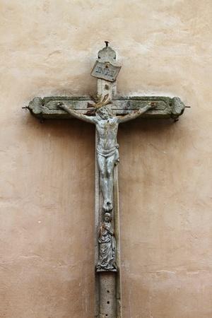 Ancient stone crucifix, symbol of christian faith Stock Photo - 10180372