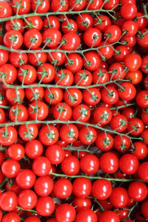Many juicy tomatoes for sale in a market stall photo
