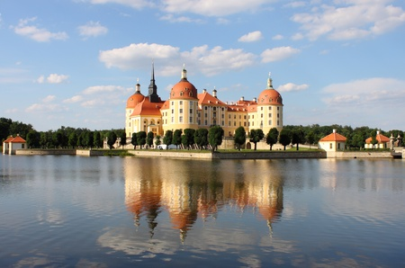 Landscape view of Moritzburg Castle, Saxony (Germany)