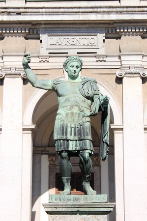 absolutism: Statue of emperor Constantine in front St. Lawrence Cathedral in Milan