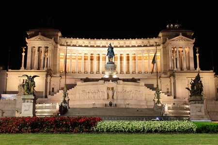 National monument of Victor Emmanuel II at night, Rome Stock Photo