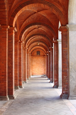Colonnade in a romanic style cloister Stock Photo